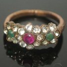 Turkish 0.20 Carat Ruby & Emerald Ottoman Victorian Flower Bronze Size 7.75 Ring