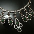Turkish Costume Georgian Ottoman Victorian 0.5 Ct Pear Emerald CZ Jewelery Set