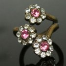 Turkish Vintage 0.2 Ct Pink Quartz Vintage Ottoman Victorian Bronze Size 7 Ring