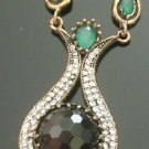 Bronze Turkish Vintage 6 Carat Smoky Agate Ottoman Victorian Drop Necklace