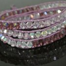 Designer Inspired Purple Haze Wrap Bracelet Leather Cord & Purple Crystals