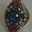 BRONZE TURKISH OTTOMAN GEORGIAN STYLE 1.5 CT SAPPHIRE ARTISIAN OTTOMAN RING