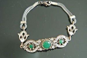 Turkish 2 Ct Round Emerald CZ Victorian Ottoman Chain Rustic Brass Bracelet