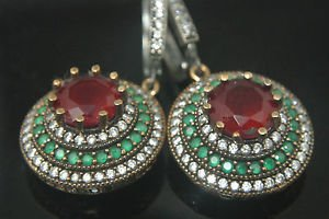 TURKISH OTTOMAN VICTORIAN STYLE 925 SILVER 2.5 CARAT RUBY CZ FLOWER EARINGS