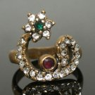 Vintage Turkish 0.2 Carat Ruby CZ Ottoman Bronze Size 8.5 Bench Muslim Vav Ring