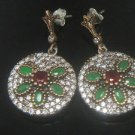 TURKISH OTTOMAN VICTORIAN STYLE 925 SILVER 0.20 CARAT EMERALD FLOWER EARINGS