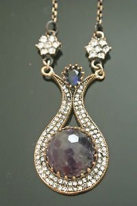 Bronze Turkish Vintage 6 Carat Smoky Amethyst Ottoman Victorian Drop Necklace