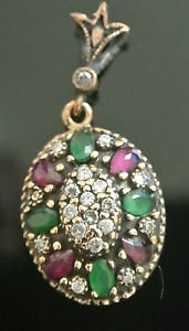 Ottoman Victorian 0.2 Carat Ruby & Emerald 925 Sterling Silver Flower Pendant