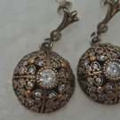 TURKISH VICTORIAN 925 STERLING SILVER 0.5 CARAT TOPAZ FLOWER DROP EARINGS