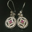TURKISH OTTOMAN VICTORIAN STYLE 925 SILVER 0.33 CARAT RUBY HURREM EARINGS