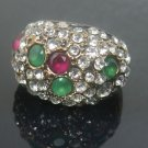 Turkish 0.25 Carat Emerald & Ruby CZ Victorian Handmade Bronze Size 9.5 Ring