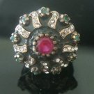 Turkish 0.7 Carat Emerald & Ruby CZ Handmade Bronze Size 8.5 Sultan Medal Ring