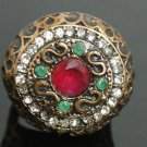 Turkish 1.5 Carat Ruby CZ Handmade Victorian Bronze Sultan Round Ring Size 7.5