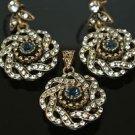 Ottoman Victorian Turkish Mixed Metals 0.25 Carat Sapphire Rhinestones Swirl Set