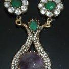 Turkish Bronze 6.0 Carat Amethyst CZ Ottoman Victorian Style Designer Necklace