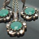 Handmade Turkish Victorian Ottoman 3.5 Carat Emerald CZ Bronze Boho Star Set