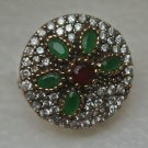 Turkish 0.33 Carat Emerald&Ruby Ottoman Victorian Size 8 925 Silver Sultan Ring