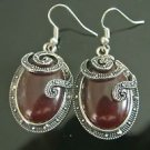 CLASSIC TURKISH OTTOMAN MARCASITE OVAL AGATE EMBRODIREY DANGLE EARRINGS AS IS