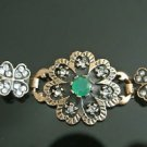 Turkish 0.75 Ct Round Emerald CZ Victorian Chain Rustic Flower Brass Bracelet