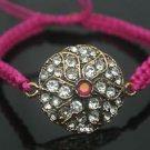 Turkish 0.1 Carat Ruby Ottoman Victorian Bronze Sultan Macrome Fabric Bracelet