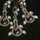 HANDMADE TURKISH OTTOMAN RUBY EMERALD CZ FLOWER LOOKING BRONZE JEWELRY SET