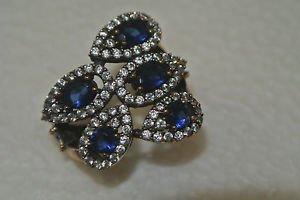 Turkish 0.75 Carat Sapphire CZ Ottoman Hinged Size 8.5 925 Silver Sultan Ring