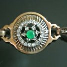 Turkish 0.5 Ct Round Emerald CZ Victorian Chain Rustic Medal Brass Bracelet