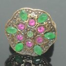 Turkish 0.10 Carat Emerald & Ruby CZ Victorian Handmade Bronze Size 8.75 Ring