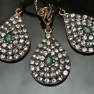 Turkish Victorian Ottoman Handmade 0.3 Carat Emerald CZ Bronze Boho Jewelry Set