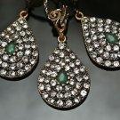 Turkish Victorian Ottoman Handmade 0.3 Carat Emerald CZ Bronze Boho Jewelry Set