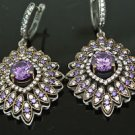 TURKISH VICTORIAN 925 STERLING SILVER 1.5 CT AMETHYST DANGLE PEACOCK EARRINGS
