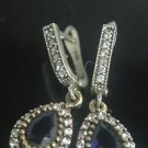 TURKISH OTTOMAN VICTORIAN 925 SILVER 0.5 CARAT SAPPHIRE SWIRL SULTAN EARRINGS