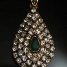 TURKISH OTTOMAN HANDMADE MIXED METALS 0.3 CARAT EMERALD & RHINESTONE PENDANT