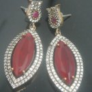 TURKISH OTTOMAN VICTORIAN 925 SILVER 6.0 CARAT RUBY HURREM SULTAN EARINGS