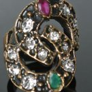TURKISH OTTOMAN SIZE 6.5 0.33 CARAT EMERALD & RUBY & CZ HANDMADE BRONZE RING