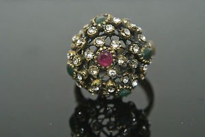 Handmade Bronze Size 11 0.2 Carat Emerald&Ruby Ottoman Victorian Swirl Cage Ring