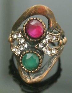 Turkish 0.5 Carat Emerald&Ruby Handmade Bronze Flower Size 6.5 Swirl Boho Ring