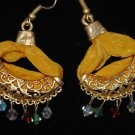 Bronze Turkish Mix Crystal Ottoman Victorian Style Yellow Silk Huggie Earings