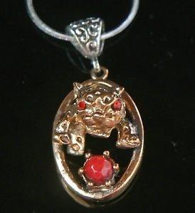 Vintage Reproduction Ottoman Turkish Bronze Ruby Leopard Pendant w Free Chain