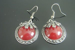 CLASSIC TURKISH OTTOMAN MARCASITE ROUND AGATE EMBRODIREY DANGLE EARRINGS
