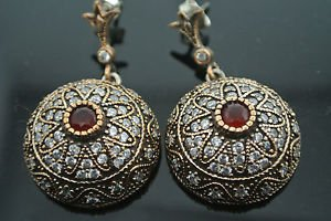 TURKISH OTTOMAN VICTORIAN 925  SILVER 0.33 CARAT RUBY MASONIC STAR EARRINGS