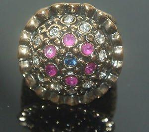 Turkish Ottoman Bronze Handmade 0.1 Carat Sapphire & Ruby Round Size 8 Ring