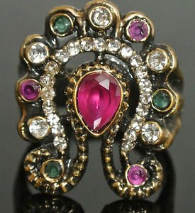 Turkish 0.5 Carat Ruby CZ Ottoman Handmade Bronze Sultan Butterfly Ring Size 9