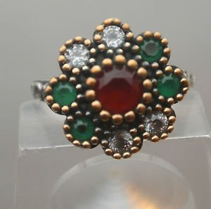 Turkish 0.75 Carat Ruby 925 Sterling Silver Ottoman Victorian SULTAN Boho Ring