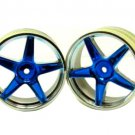 Redcat Racing Chrome front 5 spoke blue anodized wheels 2 pcs  06008pb