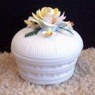 Lefton Taiwan Ceramic Trinket Box Flower Collectible www.thriftstoretreasures.com