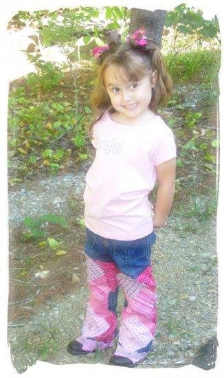 "Custom made ""Schoolgirl"" decoupage jeans"