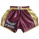 Katemanee Muay Thai Boxing Shorts Low-Waist Fit Retro Style - PURPLE/GOLD