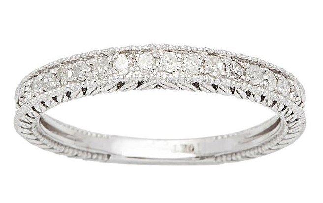 10k White Gold 1/4ct Vintage Style Engraved Diamond Wedding Band (G-H, I1-I2)