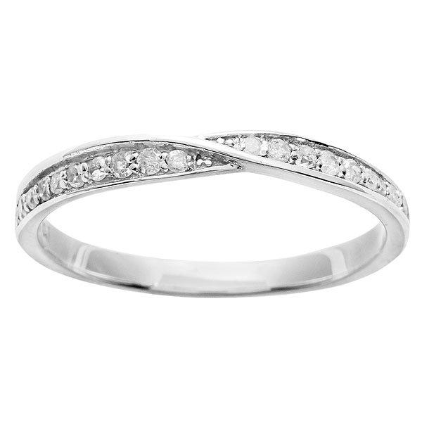 White Gold 1/5 Bypass Pave Diamond Wedding Band (G-H, I1-I2)